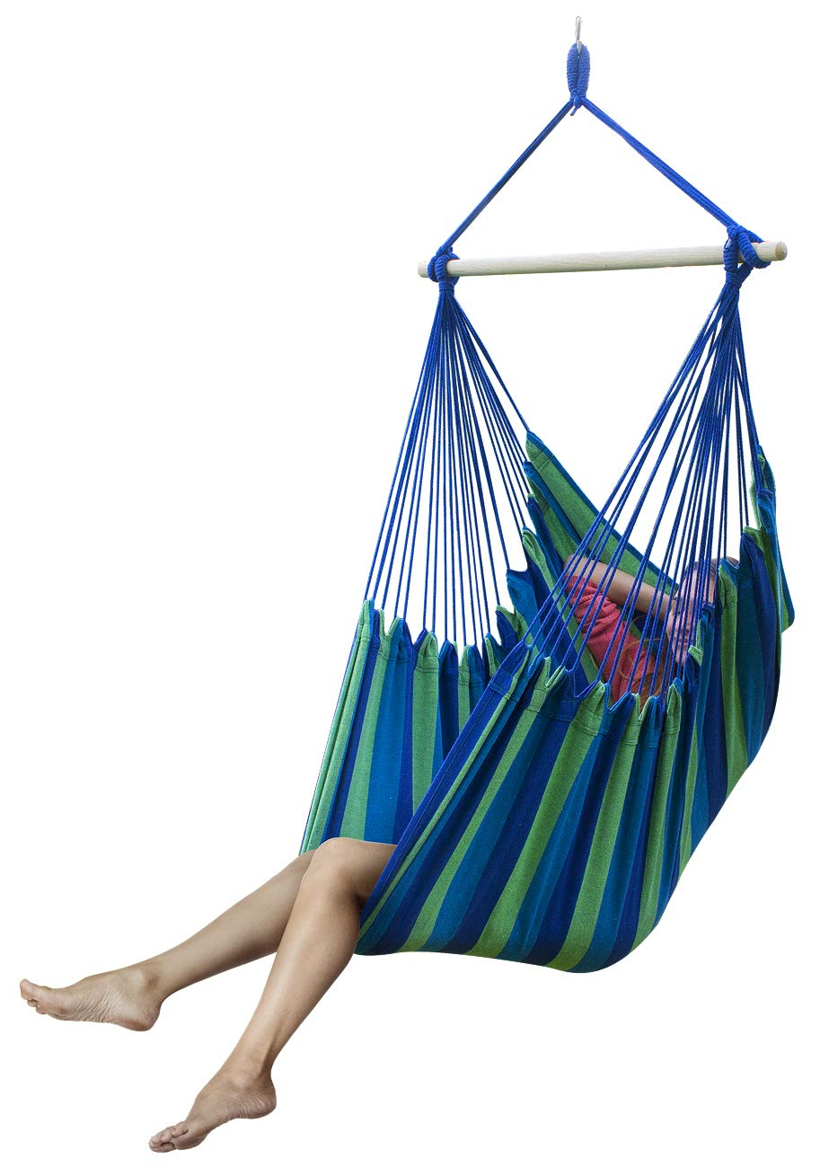 Sorbus Brazilian Hammock Chair Swing Seat for Any Indoor or Outdoor Spaces, Blue