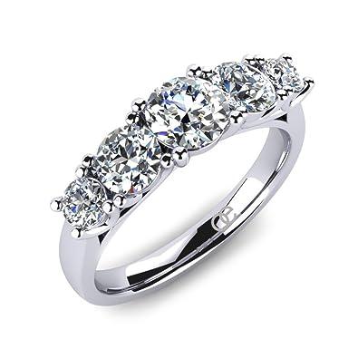 Moncoeur Diamonds Damen Ring Pivoine 925 Sterlingsilber 5 Swarovski