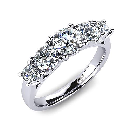 502d472405a857 Anelli di Fidanzamento da Donna 5 Pietre + Anello di Fidanzamento con  Zirconia + Anelli con