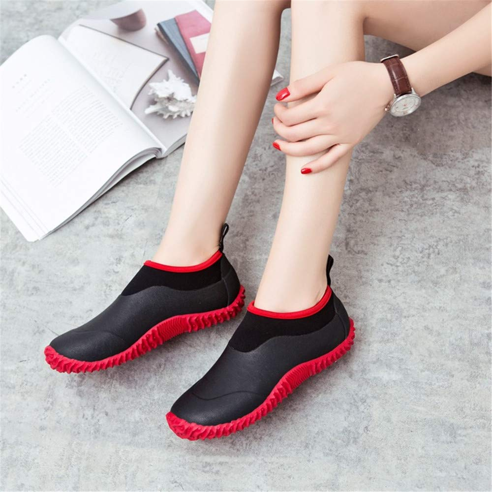 Zapatos de Goma Moda Hombres Botas de Lluvia Agua Unisex Adulto Zapatos de Jard/ín Impermeables para Mujeres Rojo Verde 35-46