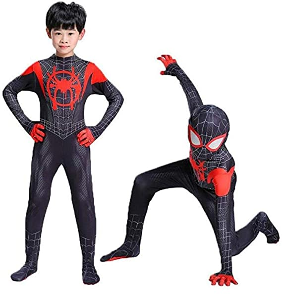 Toddler Kids Spider Verse Miles Morales Gwen Jumpsuit Bodysuit Black Spider Tights Zentai Cosplay Costume