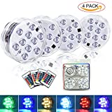 LETOUR Fairy Lights 10LEDs RGB Submersible LED Light Coaster Battery Operated 2.8In Waterproof IP68 4 Pcs/Kit with 4×24Key Remote Control (White)