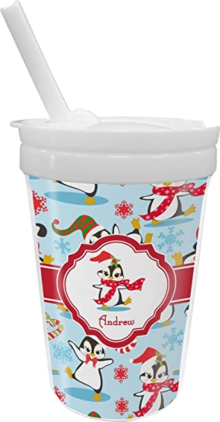 amazon com christmas penguins sippy cup with straw personalized