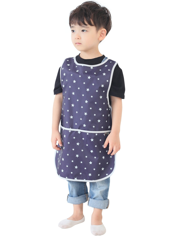 Plie Children Waterproof Sleeveless Art Smock Apron with Pockets, Silver Star (13-XL)