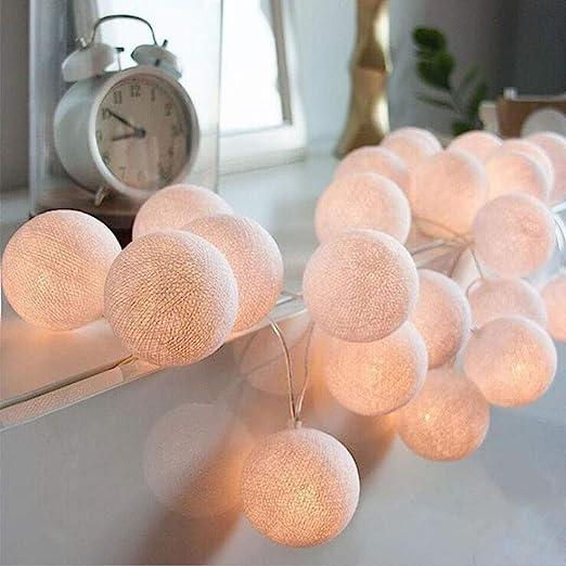 Cadena de Luces, 20 LEDs 3m Luz bola de algodon bombilla ...