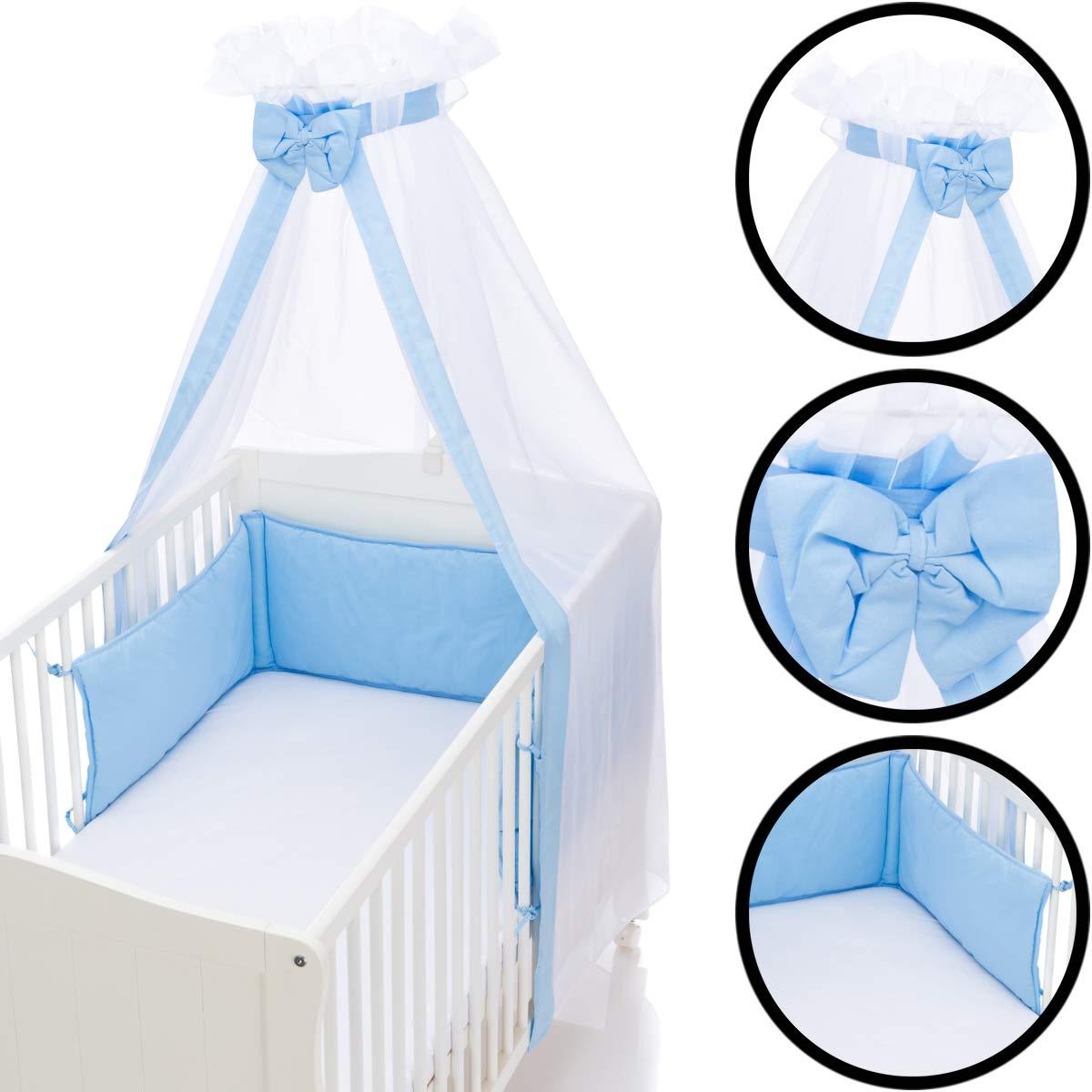 Babybett Umrandung Nestchen und Betthimmel Schleier im Set 100/% Baumwolle HELLBLAU