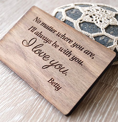 5th wedding anniversary gift idea, wooden anniversary gift, custom engraved,Wooden wallet insert
