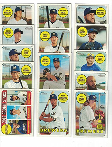 Milwaukee Brewers / Complete 2018 Topps Heritage Baseball 14 Card Team Set! Includes 25 Bonus Brewers Cards!