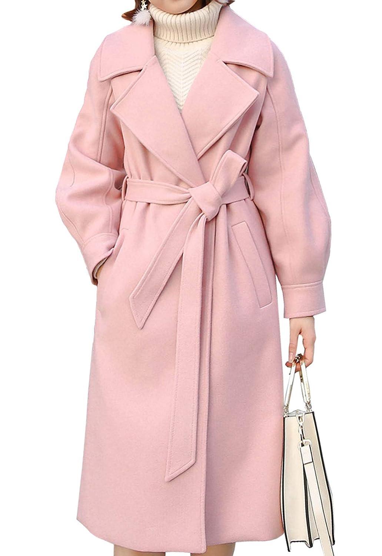 Pink Flygo Women's Woolen Lantern Sleeve Loose Long Pea Coats Outwear with Belt