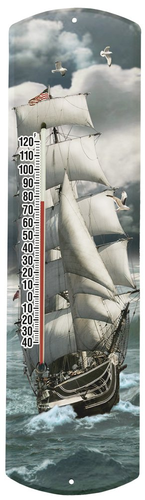 Heritage America by MORCO 375TSHIP Tall Ship Outdoor or Indoor Thermometer, 20-Inch