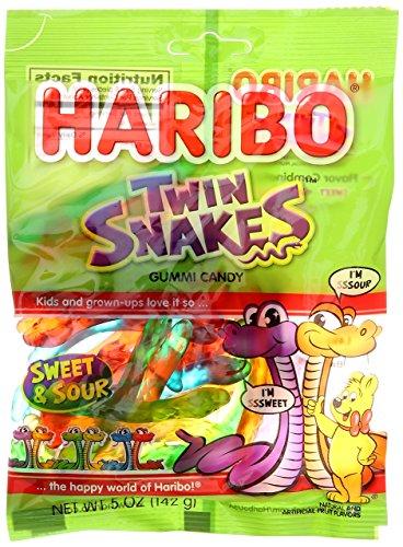Haribo Twin Snakes Gummies Bag, 5 oz