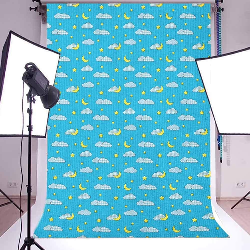 9x16 FT Vinyl Photography Backdrop,Striped Checkered and Dotted Cloud Motifs with Yellow Crescent Moon Kids Bedtime Background for Child Baby Shower Photo Studio Prop Photobooth Photoshoot