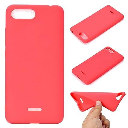 OUJD Funda Xiaomi Redmi 6A, Carcasa Xiaomi Mi 6A Silicona Gel, Mate Case Ultra Delgado TPU Goma Flexible Cover para Xiaomi Redmi 6A - Rojo