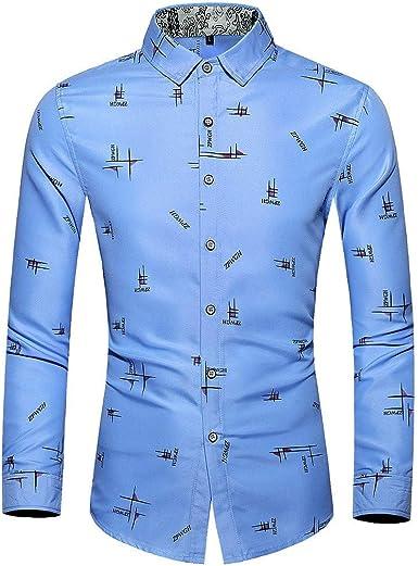 Camisa inual Colorida de Manga Larga Fina para Hombre Azul Celeste XXXXXXL: Amazon.es: Ropa y accesorios