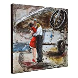 Asmork 3D Metal Wall Sculpture - 100% Handmade Metal Unique Wall Art - Stereograph Oil Painting - Wall Decor - Ready to Hang Sculpture Artwork Instruments (Kissing (24x24 inch))