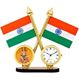 Qtsy Indian Flag and Clock Cross Design Stand for Table & Car Dashboard