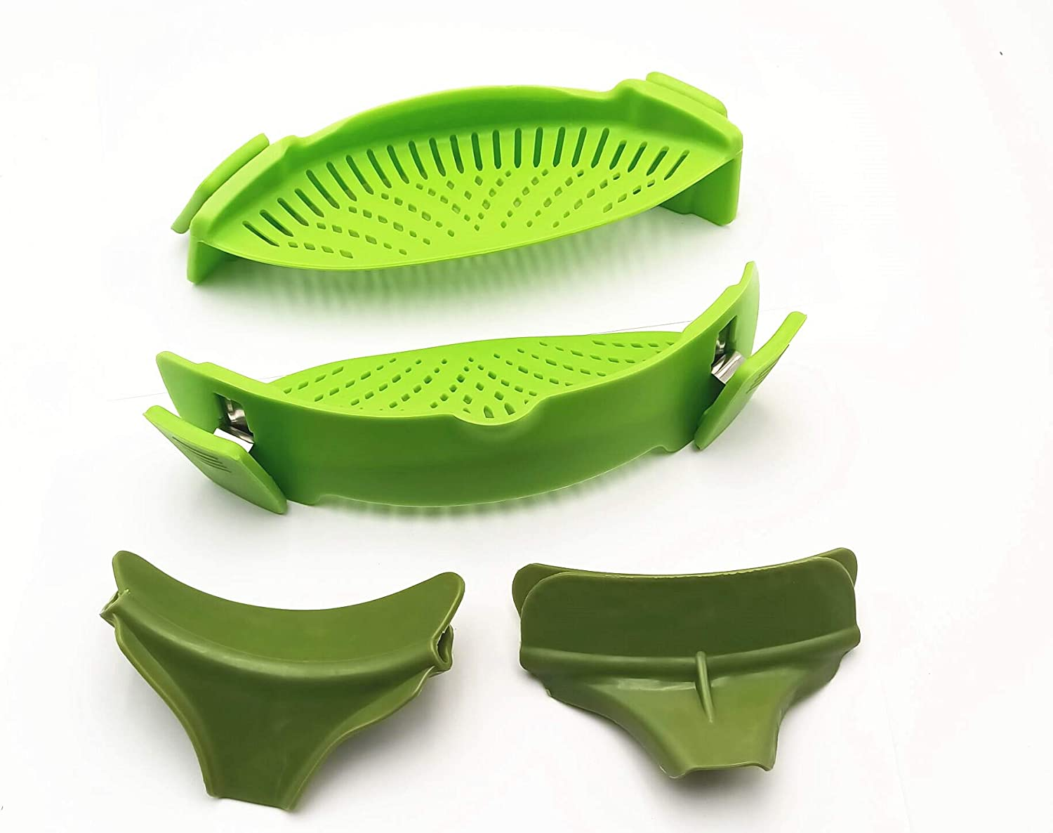 2 Packs Strain Pan Strainer, Clip-on Silicone Strainer with Slip-On Bowl Pour Spout Free for Draining Food While Cooking or Pouring Liquid, Universal Size Fits Most Pans Pots Bowls (green)