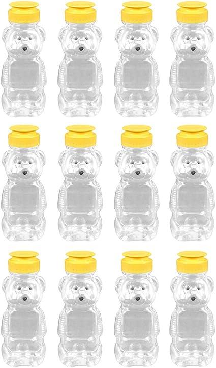 UPKOCH Squeeze Bottle Reusable Honey Bear 240ml Soft Plastic Sauce Jam Ketchup Honey Condiment Container Squeeze Bottle Dispenser Kitchen Supplies 12pcs