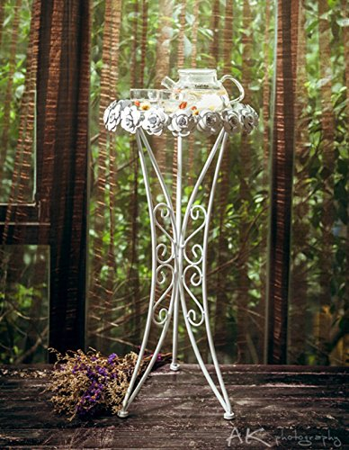 Rose End Table - Beautiful Small Side Table or Plant Stand, Perfect as a Flower or Telephone Table - Folding Design