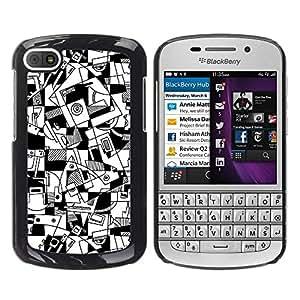FECELL CITY // Duro Aluminio Pegatina PC Caso decorativo Funda Carcasa de Protección para BlackBerry Q10 // Art Lines Hand Drawn White Black