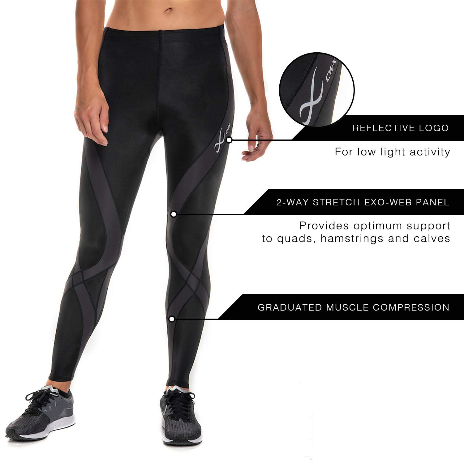 CW-X Women's Pro Running Tights,Black,Large by CW-X (Image #6)