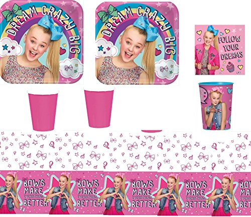 Guest Kit - JoJo Siwa Party Supply Kit for 16 Guests - Plates, Cups, Napkins, Tablecover