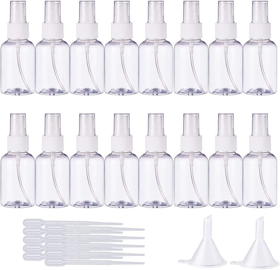 BENECREAT 20 Pack 50ml 1.7oz Empty Plastic Mist Mini Spray Bottles Atomizer Pumps 10 Pack 2ml Plastic Pipette Droppers 2 Funnels for Perfume, Lotion