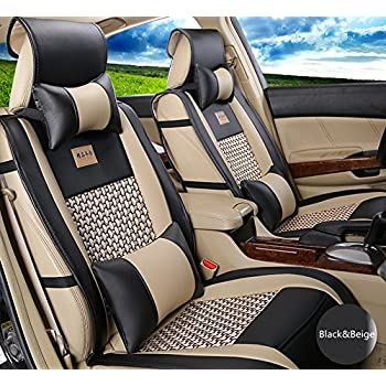 Image of Accessories Amooca VTI Universal Front Rear Car Seat Cushion Cover Black&Beige 10pcs Full Set Needlework PU Leather