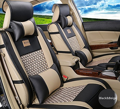 Amooca VTI Universal Front Rear Car Seat Cushion Cover Black&Beige 10pcs Full Set Needlework PU Leather