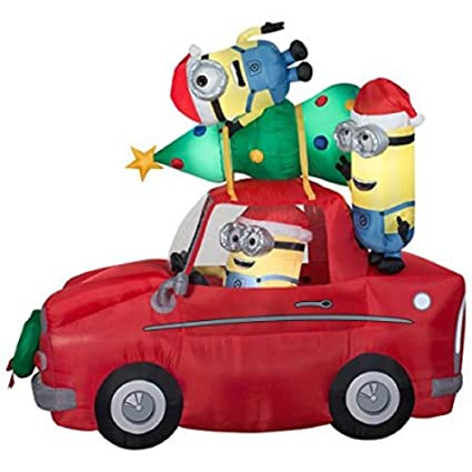 christmas inflatable minions in car with christmas tree 7 ft x 4 ft lighted