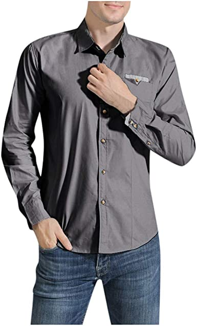 CLOOM Hombres Camisa de Moda Color Sólido Casual Manga Larga Solapa Blusas Camisas,Negocios Elegante Botónes Arriba Chaqueta,para Trabajo/Oficina/Citas de Pareja: Amazon.es: Ropa y accesorios