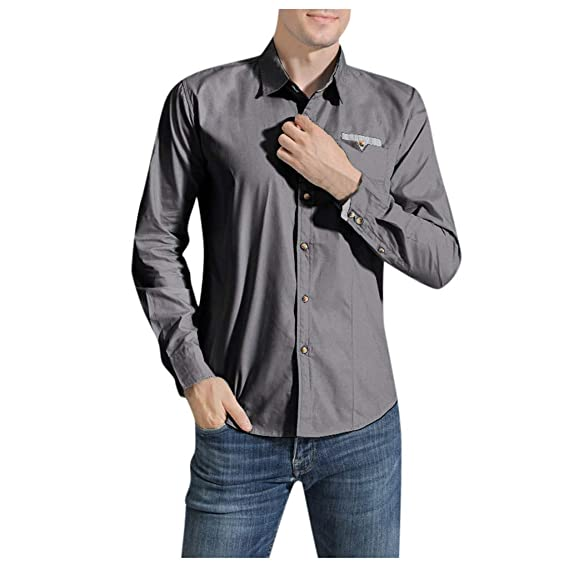 CLOOM Hombres Camisa de Moda Color Sólido Casual Manga Larga ...