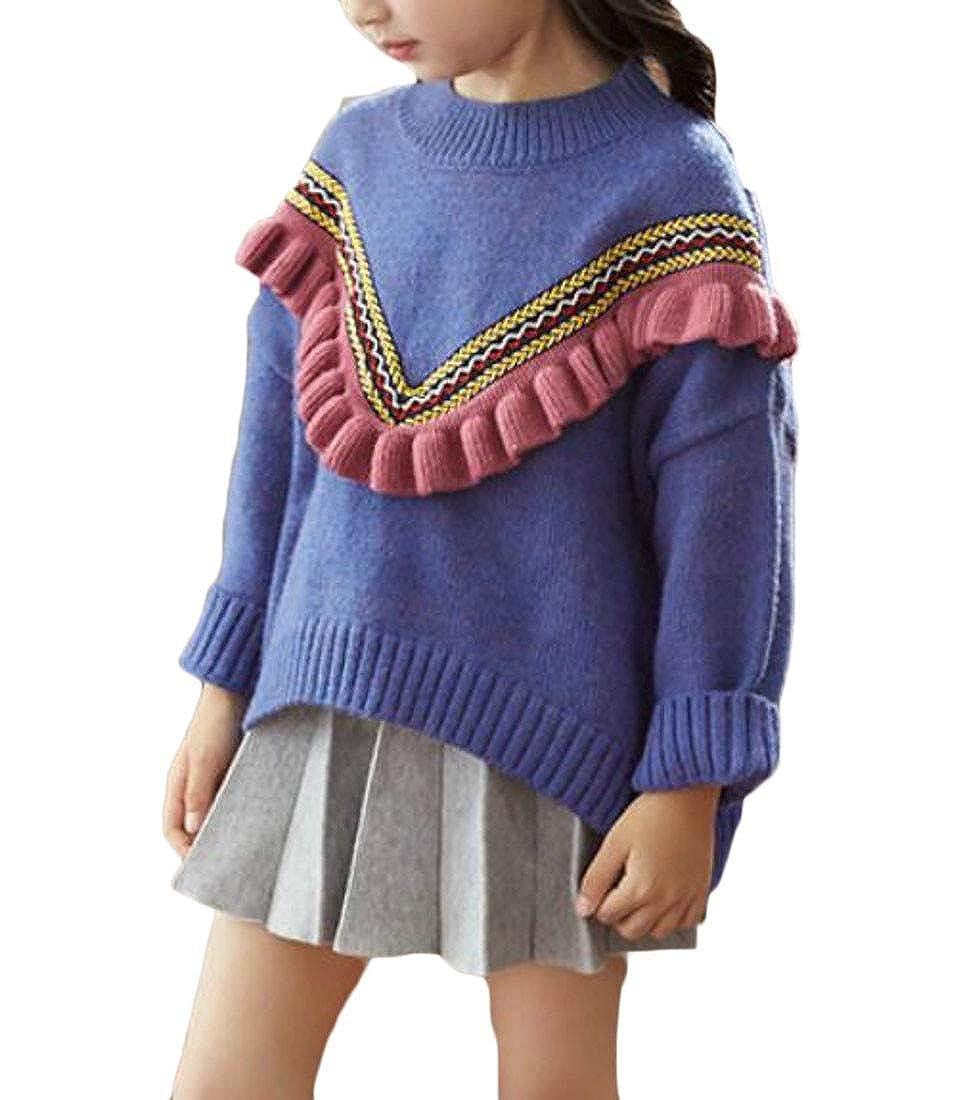 Wofupowga Girls Loveliness Peplum Crewneck Knit Hi-Low Pullover Sweaters