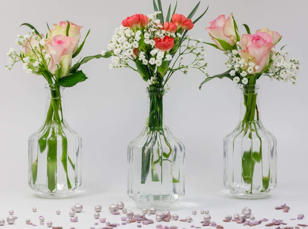 5 x Dekoflaschen Vase Glasflaschen Glasfläschchen Tischvasen Vasen Väschen DE