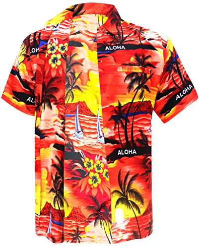 La Leela Likre Gift Dad Father mother Son Cheap ukulele Solid plain male golf pool swim dress Shirts Red XL