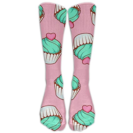 Calcetines de colores para cupcakes, hasta la rodilla, calcetines