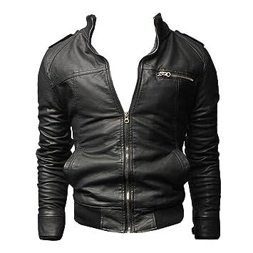 Chaqueta de Cuero de Imitación con Cremallera Moto Jacket Abrigo para Hombre: Amazon.es: Deportes y aire libre