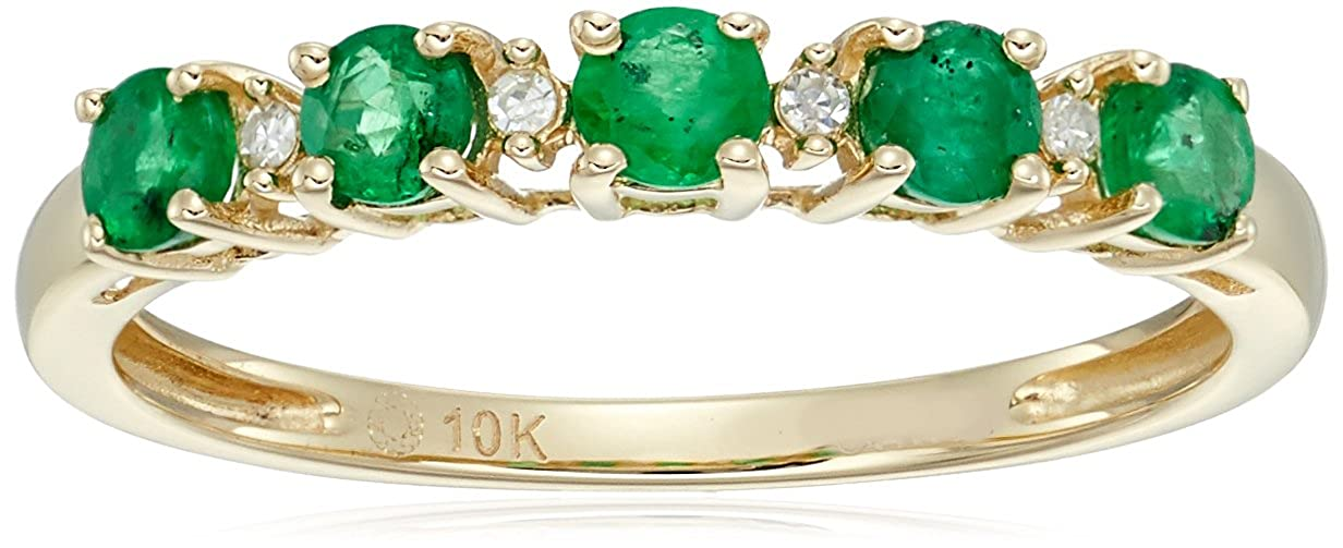 10k Yellow Gold Genuine Emerald and Diamond Accented Stackable Ring, Size 7 R2047YSKEM