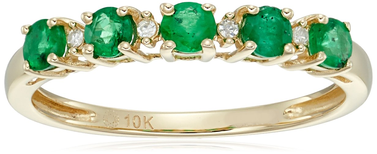 10k Yellow Gold Genuine Emerald and Diamond Accented Stackable Ring, Size 7