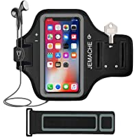"""iPhone X/XS/11Pro Armband, JEMACHE Water Resistant Gym Running Workout/Exercise Sport Arm Band Case for iPhone X/XS, iPhone 11 Pro (5.8"""") with Key Holder (Black)"""