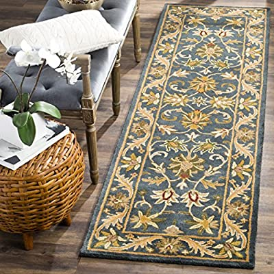 """Safavieh Antiquity Collection Runner, 2'3"""" x 16', Blue/Gold - The handmade, hand-tufted Construction adds durability to this rug, ensuring it will be a favorite for many years Each rug is handmade with premium, hand-spun Wool This traditional rug will give your room an elegant accent - runner-rugs, entryway-furniture-decor, entryway-laundry-room - 61EADUpSvJL. SS400  -"""