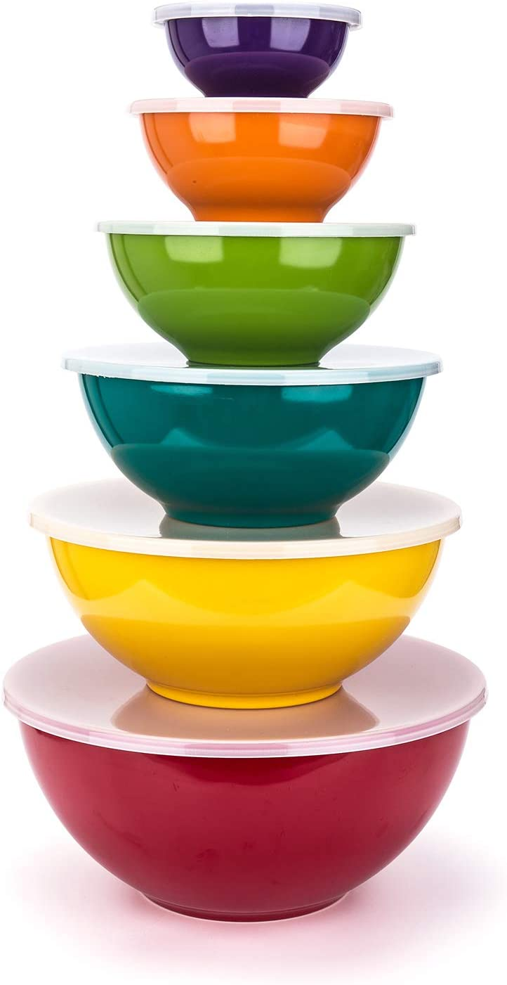 Melamine Mixing Bowls with Lids - 6 Piece Melamine Bowls and 6 Piece Plastic Lids, Multicolor