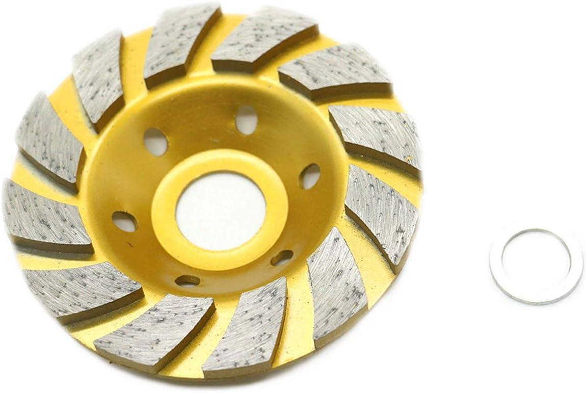 Renewed Yellow HUELE 4-Inch Concrete Turbo Diamond Grinding Cup Wheel for Angle Grinder 12 Segs Heavy Duty