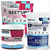 PureClean Powder - 100% USA Organic Beet powder Jar 300G, PLUS FundAminos - Delicious, VEGAN amino acid supplement AND Beet'Ums 2 Pack, delicious beet infused Chocolate Pomegranate Performance Chews.