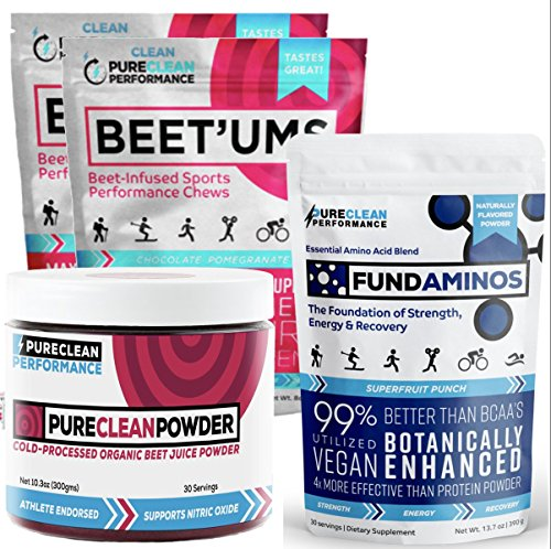 PureClean Powder - 100% USA Organic Beet powder Jar 300G, PLUS FundAminos - Delicious, VEGAN amino acid supplement AND Beet'Ums 2 Pack, delicious beet infused Chocolate Pomegranate Performance Chews. by PureClean Performance