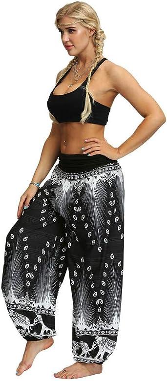 Pantalon Fluide Femme Imprim/é Florale Ryures Pants /Él/éphant Yoga Doux Casual Losse Pantalon Sarouel Aladin Jogging Hiver Gris,XX-Large