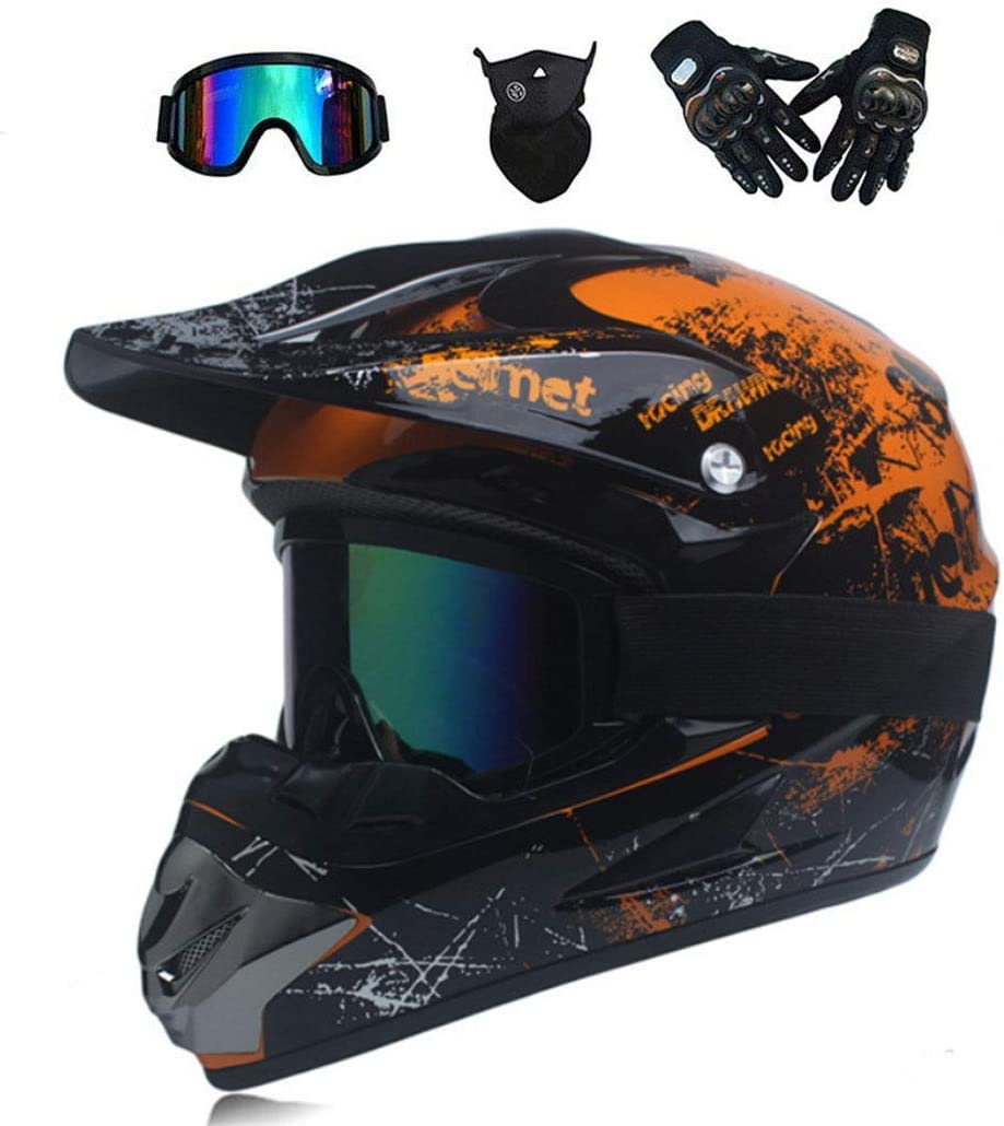 7 style NGB Dual Sport Motocross Helmet//Adult MX Off-Road Motorcycle//AM mountain bike full face helmet With Goggles Gloves Mask