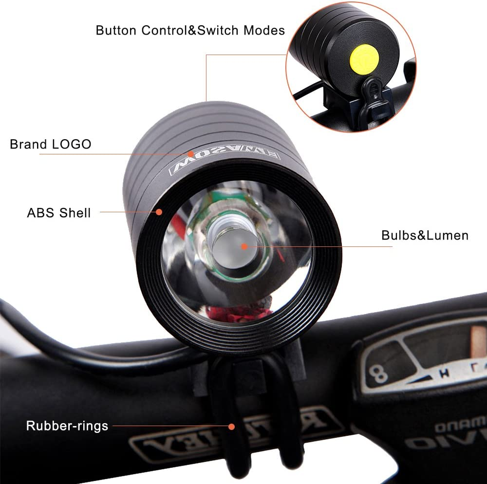 Hybrid Road Easy Install /& Quick Release Fit Mountain MTB WOSAWE Mini 1200 LUMENS Front Bike Light Headlight USB Cable CREE XMK T6 LED Bicycle Headlamp Waterproof Full Aluminum Housing