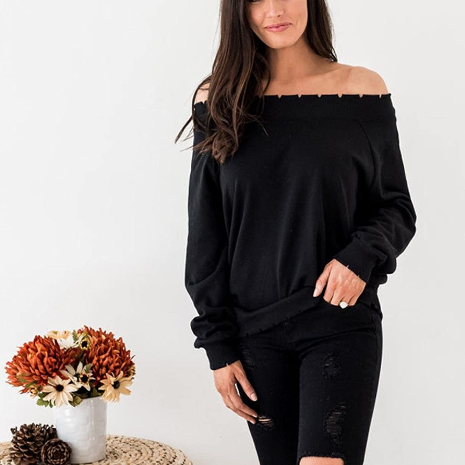 Overdose Women Top Solid Off Shoulder Long Sleeve T-Shirt Blouse:  Amazon.co.uk: Clothing