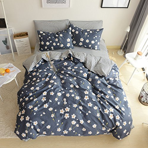 4 Pieces Cotton Duvet Cover Set Daisy Printed Pattern Comforter Bedding Cover for Girls Queen Size (Daisy Printed)